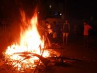 Svátek Diwali. Oheň. Agonda, Goa, Indie