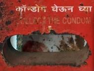 Automat na kondomy. Chaudi, Goa, Indie