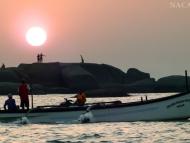 Západ slunce na pláži. Agonda. Goa, Indie