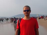 Na pláži mezi Baga a Calangute, Goa, Indie