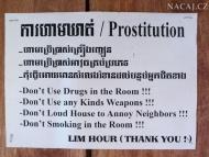 Oznámení v bungalovu. Sihanoukville, Kambodža