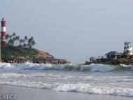 Moře a majáky. Kovalam Bech. Kerala, Indie