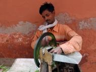 sekání zeleniny na trhu v Dillí