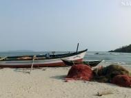 Rybářské čluny. Palolem, Goa. Indie
