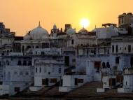 Západ slunce. Pushkar, Rajastan, Indie