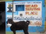 Holení hlav. Rameshwaram, Tamil Nadu, Indie