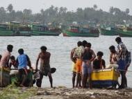 Zátoka a lodě v Tamil Nadu, Indie