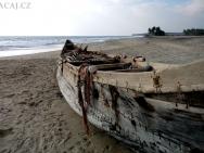 Dřevěná loď - Varkala, Kerala, Indie