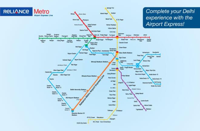 mapa: metro v Dilli, indie
