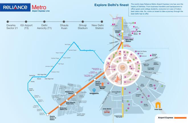 mapa: letištní expres metro v Dillí