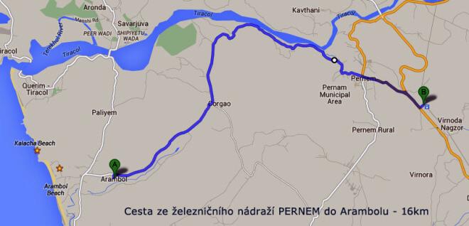 Trasa z nádraží Parnem do Arambol