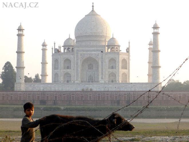Taj Mahal za řekou Jamuna. Indie