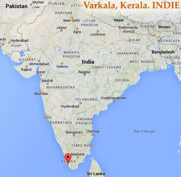 Varkala, Kerala. Indie - mapa