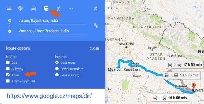 Jízdenky na vlak v Indii - trasy