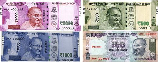Indické Rupie - platné bankovky 2018