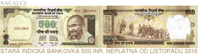 Neplatná Indická bankovka 500 INR