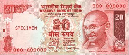 Indická Rupie - Rs 20 bankovka
