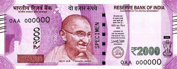 Indická Rupie - Rs 2000 bankovka