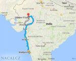 Mapa: vlak: Goa - Uadipur - Rajasthan, Indie.