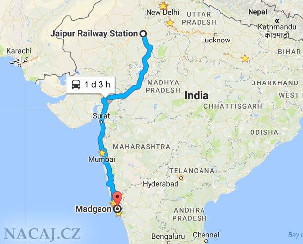 Mapa: vlak: Goa - Udaipur, Rajasthan, Indie