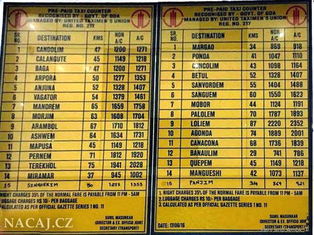 Předplacené TAXI z letiště Goa - Dabolim. Ceny taxi.